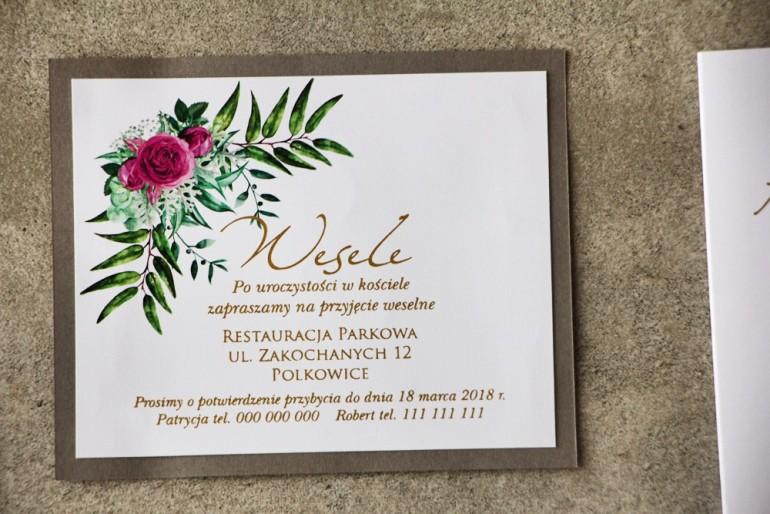 Bilecik dwuwarstwowy prezenty ślubne wesele - Cykade nr 4 ze złoceniem - Kwiaty róży w odcieniach fuksji