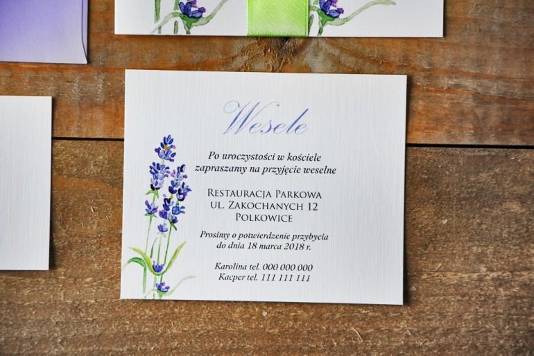 Bilecik do zaproszenia 120 x 98 mm prezenty ślubne wesele - Akwarele nr 14 - Lawendowe