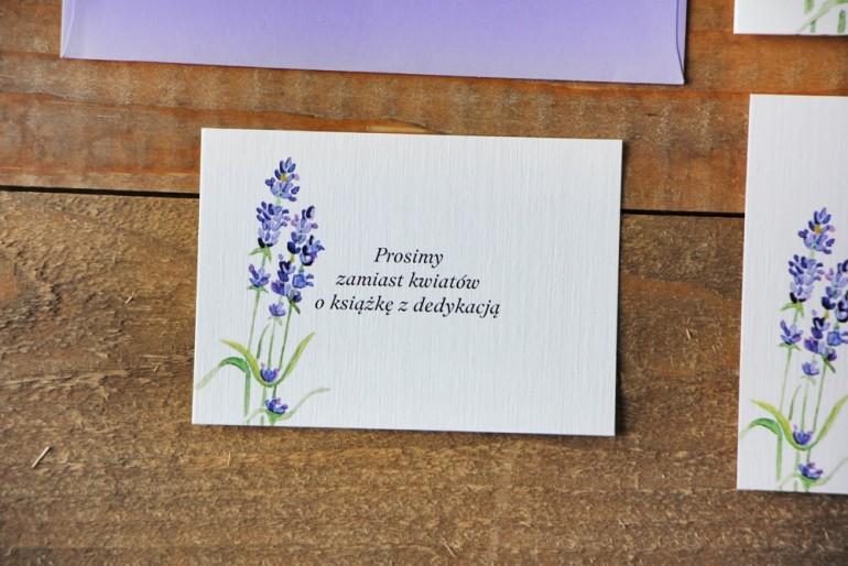 Bilecik do zaproszenia 105 x 74 mm prezenty ślubne wesele - Akwarele nr 14 - Lawendowe