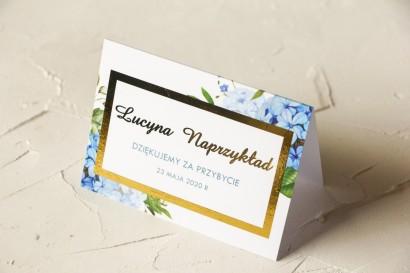 Winietki Ślubne z niebieską i białą hortensją ze złoconymi napisami oraz złoconą ramką