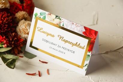 Winietki Ślubne z bordowymi i białymi różami ze złoconymi napisami oraz złoconą ramką