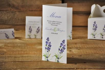 Menu weselne, stół weselny - Akwarele nr 14 - Lawendowe, kwiaty lawendy