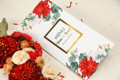 Menu ślubne ze złoceniem oraz  z bordowymi i białymi różami
