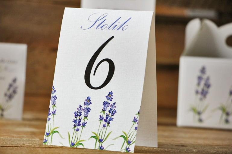 Numery stolików, stół weselny, ślub - Akwarele nr 14 - Lawendowe