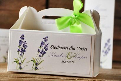 Prostokątne pudełko na ciasto, tort weselny, ślub - Akwarele nr 14 - Lawendowe