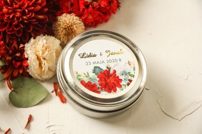 Okrągłe Świeczki ślubne - podziękowania dla gości weselnych. Etykieta ze złoceniami oraz z bordowymi i białymi różami
