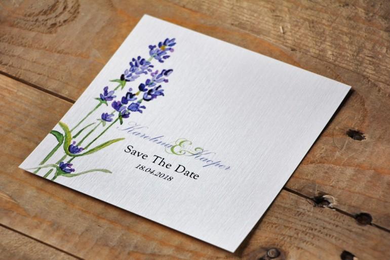 Bilecik Save The Date do zaproszenia - Akwarele nr 14 - Lawendowe