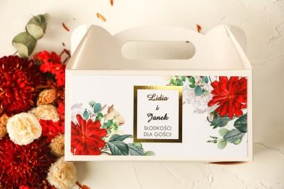 Prostokątne Pudełko na ciasto weselne ze złoceniami oraz z bordowymi i białymi różami