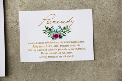 Bilecik prezenty ślubne wesele - Cykade nr 4 ze złoceniem - Róże w kolorze fuksji