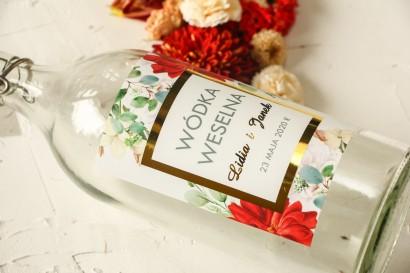 Złocone Etykiety samoprzylepne na butelki na alkohol z bordowymi i białymi różami