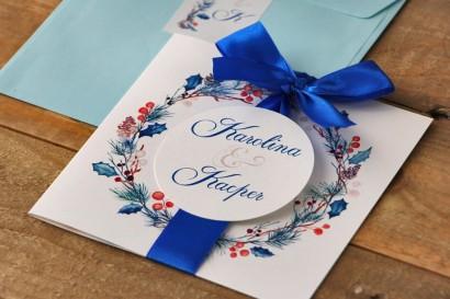 Zaproszenie ślubne z kokardą i kolorową kopertą - Akwarele nr 15 - Zimowy wzór