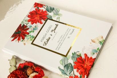 Ślubna Księga Gości ze złoceniami z bordowymi i białymi różami