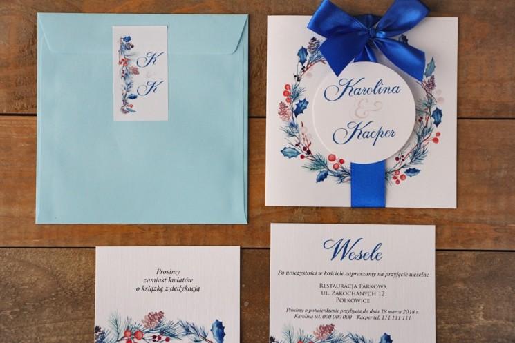 Zaproszenie ślubne z bilecikami - Akwarele nr 15 - Zimowe gałązki