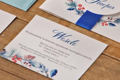 Bilecik do zaproszenia 120 x 98 mm prezenty ślubne wesele - Akwarele 15 - Zimowe gałązki