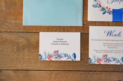Bilecik do zaproszenia 105 x 74 mm prezenty ślubne wesele - Akwarele nr 15 - Zimowe gałązki