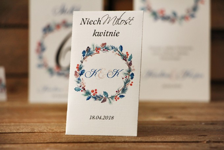 Podziękowania dla Gości weselnych - nasiona Niezapominajki - Akwarele nr 15 - Zimowe gałązki z ostrokrzewem