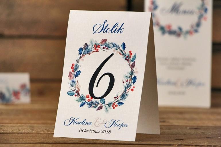 Numery stolików, stół weselny, ślub - Akwarele nr 15 - Zimowe gałązki z ostrokrzewem
