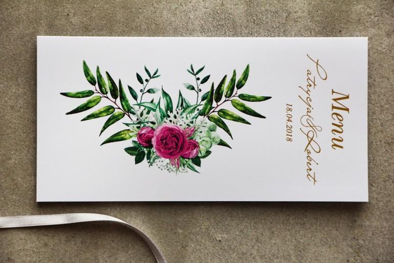 Menu ślubne ze złoceniem, zieloną kompozycją gałązek oraz kwiatami róży. Złote Menu ślubne - Cykade nr 4
