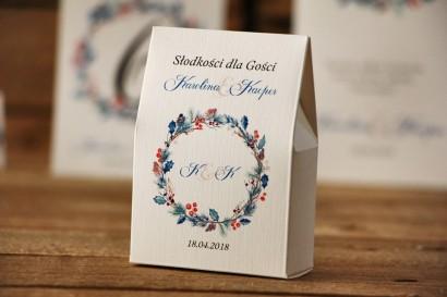 Pudełeczko stojące na cukierki, podziękowania dla Gości weselnych - Akwarele nr 15 - Zimowe gałązki z ostrokrzewem