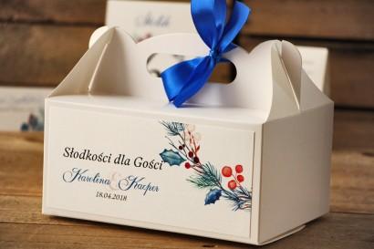 Prostokątne pudełko na ciasto, tort weselny, ślub - Akwarele nr 15 - Zimowe gałązki