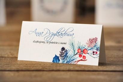 Winietki na stół weselny, ślub - Akwarele nr 15 - Zimowe gałązki z szyszkami i ostrokrzewem