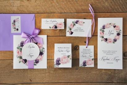Zaproszenie ślubne z dodatkami - Akwarele nr 16 - Fioletowe kwiaty