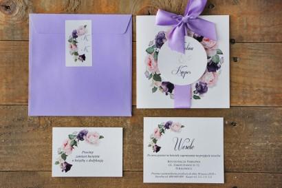 Zaproszenie ślubne z bilecikami - Akwarele nr 16 - Pastelowe róże