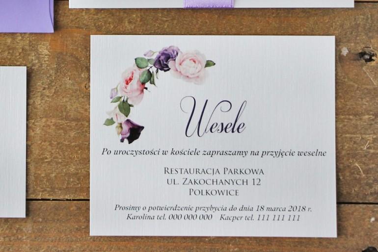 Bilecik do zaproszenia 120 x 98 mm prezenty ślubne wesele - Akwarele nr 16 - Pastelowe fioletowe róże