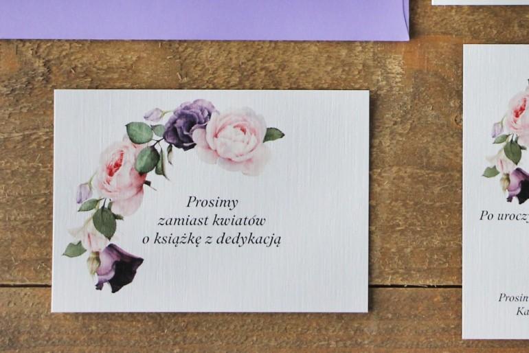 Bilecik do zaproszenia 105 x 74 mm prezenty ślubne wesele - Akwarele nr 16 - Fioletowe i pudrowe róże