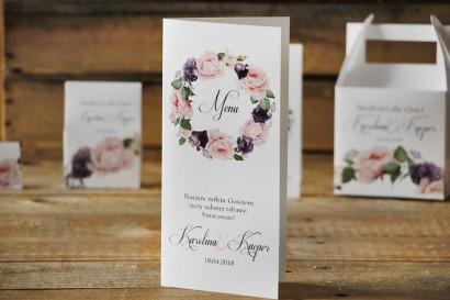 Menu weselne, stół weselny - Akwarele nr 16 - Róże w pastelowych odcieniach fioletu i różu