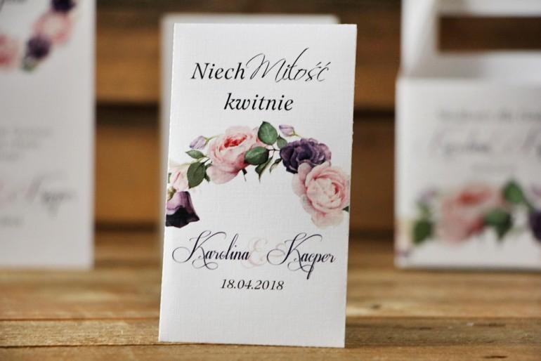 Podziękowania dla Gości weselnych - nasiona Niezapominajki - Akwarele nr 16 - Róże w kolorach fioletu i różu