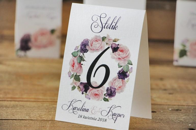 Numery stolików, stół weselny, ślub - Akwarele nr 16 - Pudrowe i fioletowe róże