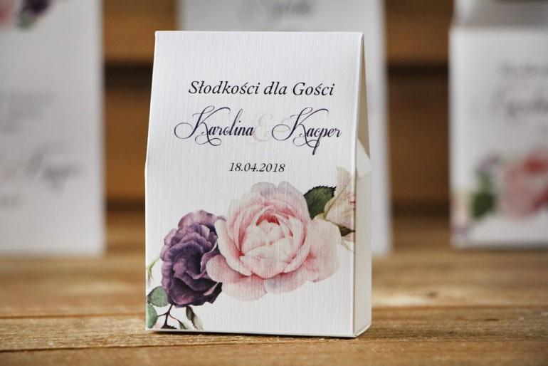 Pudełeczko stojące na cukierki, podziękowania dla Gości weselnych - Akwarele nr 16 - Pudrowe fioletowe róże