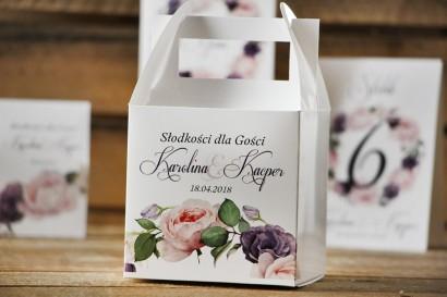 Pudełko na ciasto kwadratowe, tort weselny - Akwarele nr 16 - Pastelowe róże z fioletem