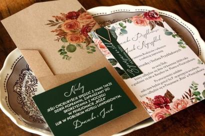 Zaproszenia ślubne z różowym bukietem i zielonymi gałązkami
