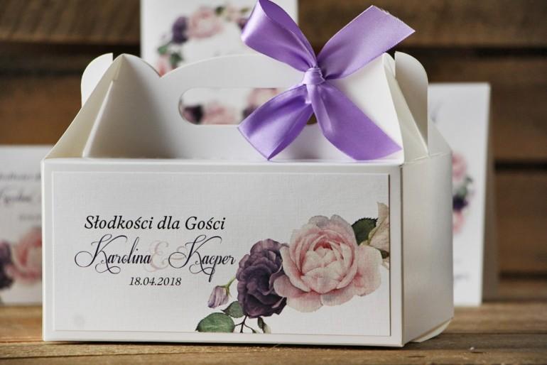 Prostokątne pudełko na ciasto, tort weselny, ślub - Akwarele nr 16 - Różowe i fioletowe róże