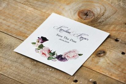 Bilecik Save The Date do zaproszenia - Akwarele nr 16 - Fioletowe i pudrowe róże