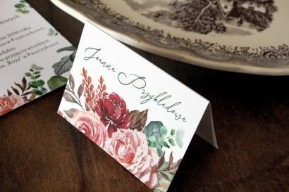 Winietki Ślubne z różowym bukietem i zielonymi gałązkami