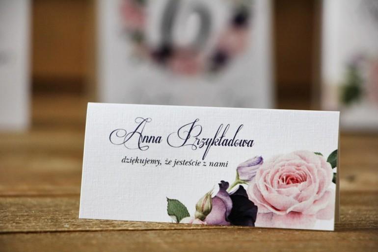 Winietki na stół weselny, ślub - Akwarele nr 16 - Pastelowe różowe i fioletowe róże
