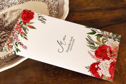 Menu ślubne z czerwoną różą i zielonymi gałązkami z dodatkiem bieli