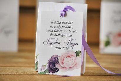 Zawieszka na butelkę, wódka weselna, ślub - Akwarele nr 16 - Pudrowe i fioletowe róże
