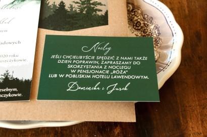 Zielony Bilecik do zaproszeń ślubnych