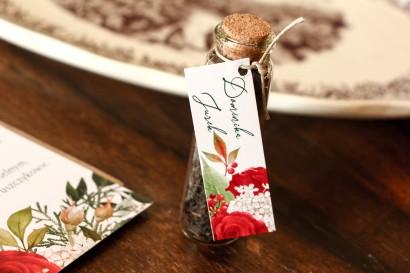 Buteleczka z Herbatą - Ślubne Podziękowania dla gości. Przywieszka z czerwoną różą i zielonymi gałązkami