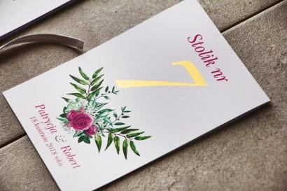 Numery stolików, stół weselny, Ślub - Cykade nr 4 ze złoceniem - Róże w odcieniach fuksji