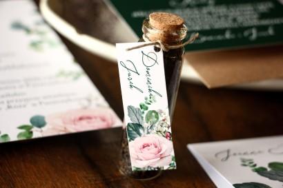 Buteleczka z Herbatą - Ślubne Podziękowania dla gości. Przywieszka z różami i zielonymi gałązkami eukaliptusa