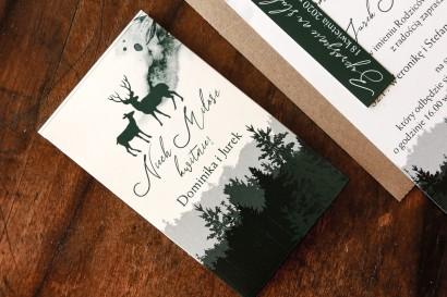 Nasiona Ślubne - Podziękowania dla Gości. Leśne opakowanie z grafiką jeleni.