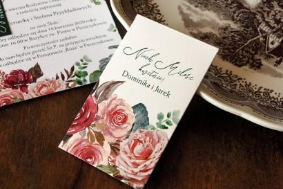 Nasiona Ślubne - Podziękowania dla Gości. Opakowanie z różowym bukietem i zielonymi gałązkami