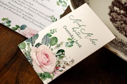 Nasiona Ślubne - Podziękowania dla Gości. Opakowanie z różami i zielonymi gałązkami eukaliptusa
