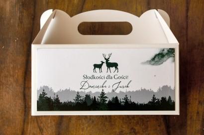 Ślubne Pudełko na Ciasto (prostokątne) z grafiką jeleni