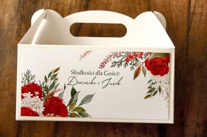 Ślubne Pudełko na Ciasto (prostokątne) z czerwoną różą i zielonymi gałązkami z dodatkiem bieli